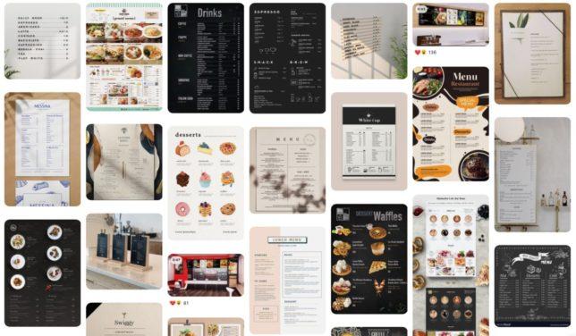 Pinterest cafe menu